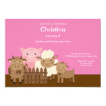 Cute Pig & Other Barn Yard Farm Animals Birthday Party Invitation
