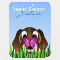 Cute Beagle Puppy Dog and Butterfly Blue Receiving Blanket