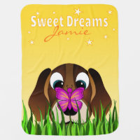 Cute Beagle Puppy Dog and Butterfly Yellow Baby Blanket