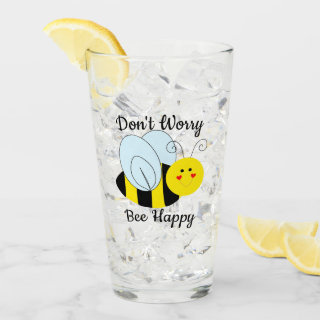 Cute Bee Don't Worry Bee Happy Glass