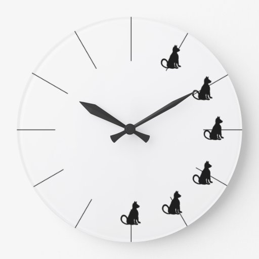 Cute Black and White Cat Clock CricketDiane