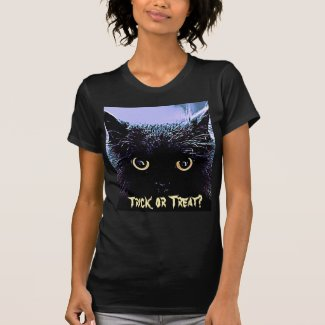 Cute Black Cat Halloween Trick or Treat Tshirt