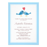 Cute blue bird couple with heart bridal shower custom announcement