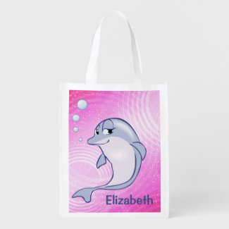 Cute Blue Dolphin To Personalize Reusable Grocery Bag