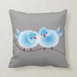 Cute Blue Love Birds On Branch Throw Pillows