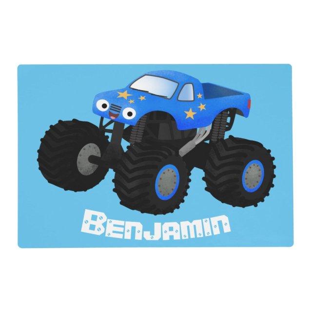 Cute blue monster truck cartoon illustration placemat