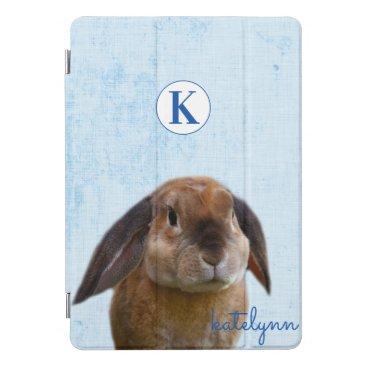 Cute Blue Peek-a-Boo Bunny Photograph Monogrammed iPad Pro Cover