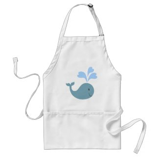 Cute Blue Whale Graphic Aprons