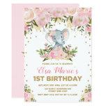 Cute Blush Pink Floral Elephant 1st Birthday Party Invitation