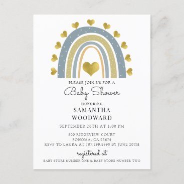 Cute Boho Blue Rainbow Baby Boy Shower Invitation