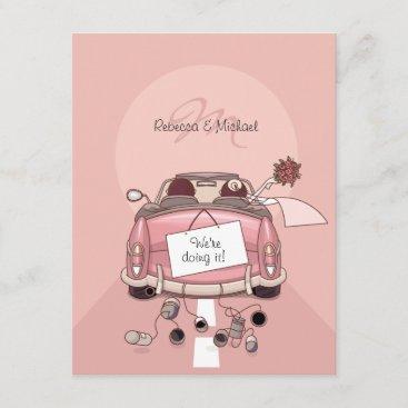 Cute Bride & Groom Pink Getaway Car Invitation