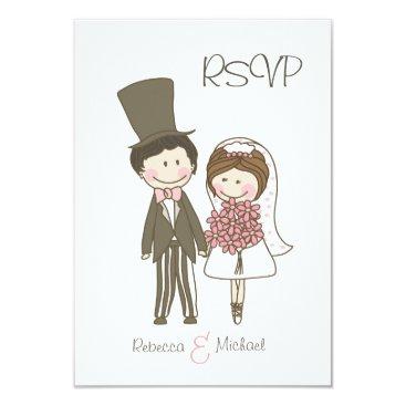 Cute Bride & Groom Wedding RSVP Cards