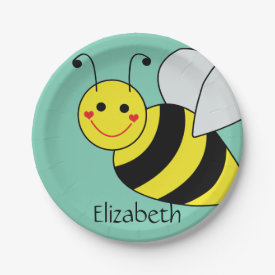 Cute Bumble Bee Personalized 7 Inch Paper Plate