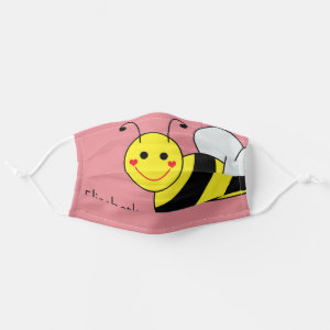 Cute Bumble Bee Personalized | Pink Cloth Face Mask