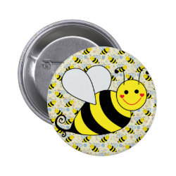 Cute Bumble Bee with Pattern Button