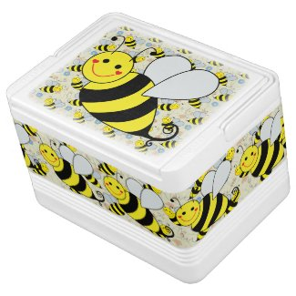 Cute Bumble Bee with Pattern Igloo Ice Chest