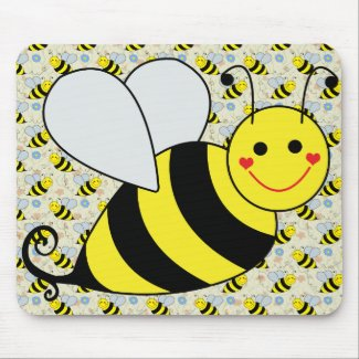 Cute Bumble Bee with Pattern Mouse Pads