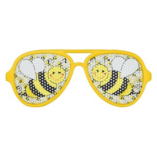 Cute Bumble Bee with Pattern Party Sunglasses