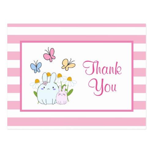 Cute Bunnies, Butterflies & Flowers Party Thanks Postcard