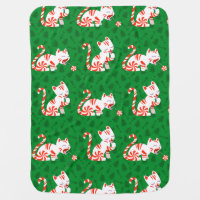 Cute Candy Cane Cat Baby Blanket