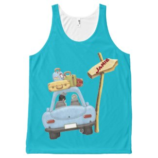 Cute car road trip with added name All-Over print tank top
