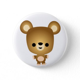 Cute Cartoon Bear Cub Button Badge button