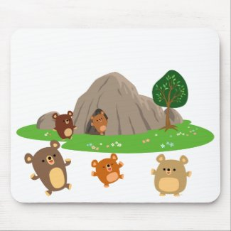 Cute Cartoon Bears in a Cave Mousepad mousepad