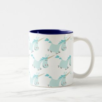 Cute Cartoon Blue Unicorns mug mug