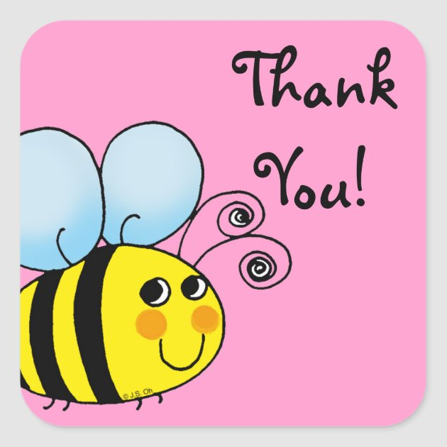 Cute Cartoon Bumble Bee Thank You Square Sticker Zazzle