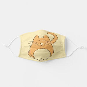Cute Cartoon Cat Add Name | Beige Cloth Face Mask