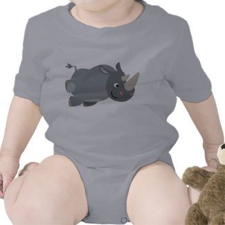 Cute Cartoon Charging Rhino Baby Apparel shirt