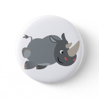 Cute Cartoon Charging Rhino Button Badge button