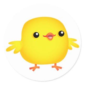 Cute Cartoon Chick :) round sticker sticker