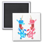 Cute Cartoon Dancing Unicorns Magnet