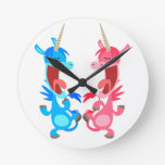 Cute Cartoon Dancing Unicorns Wall Clock