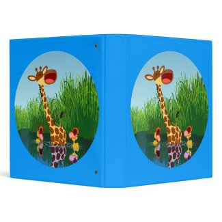 Cute Cartoon Giraffe and Ducklings Aver Binder binder
