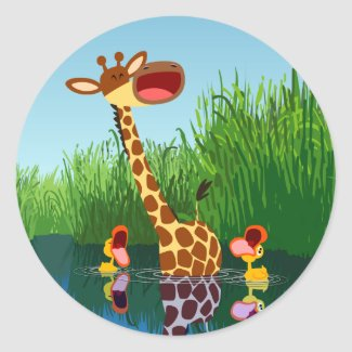 Cute Cartoon Giraffe and Ducklings Sticker sticker