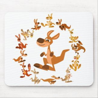 Cute Cartoon Kangaroos Mandala Mousepad mousepad