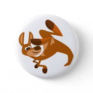 Cute Cartoon Kangaroo's Somersault Button Badge button