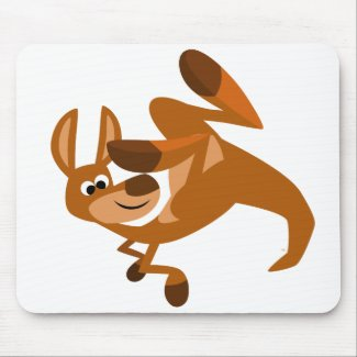 Cute Cartoon Kangaroo's Somersault Mousepad mousepad