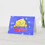 Cute Cartoon Kitty Hello Card