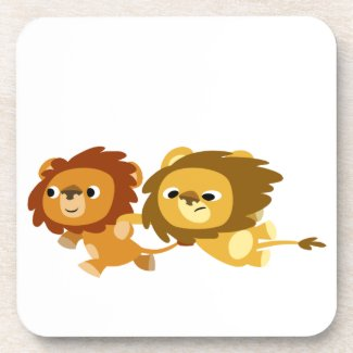 Cute Cartoon Lions in a Hurry Coasters Set