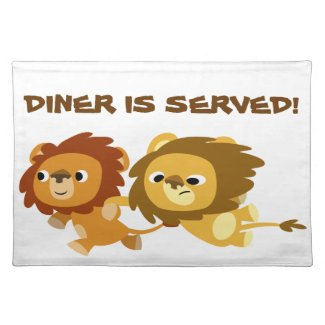 Cute Cartoon Lions in a Hurry Placemat