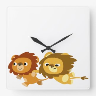 Cute Cartoon Lions in a Hurry Wall Clock