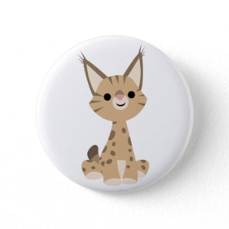 Cute Cartoon Lynx Button Badge button