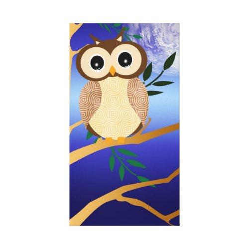 Cute cartoon midnight owl wrappedcanvas