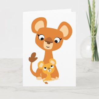 Cute Cartoon Mother Lion and cub Greeting card card