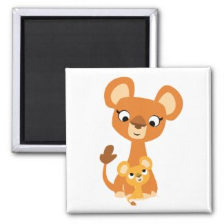 Cute Cartoon Mother Lion and cub magnet magnet