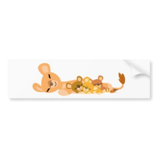 Cute Cartoon Mum Lion and Cubs Bumper Sticker bumpersticker