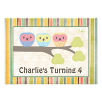 Cute Cartoon Owls Birthday Party Retro Invitation